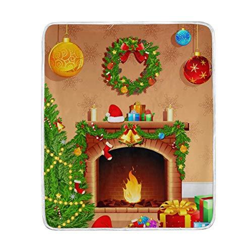 Mesllings gooien deken kerstboom bal open haard lichtgewicht warm gezellig microvezel dekens reizen camping alle seizoen bank bed 58