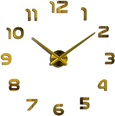 Watch Wall Clocks Horloge 3D DIY Acrylic Mirror Stickers Home Decoration Living Room Quartz Needle,