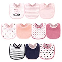 Set includes coordinating bibs Made with cotton and polyester Multi-layered, gentle fabric absorbs drools and spills Optimal for everyday use Affordable, high quality value pack