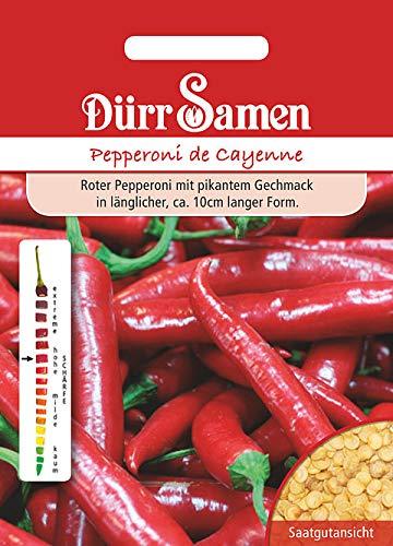 """Dürr-Samen - 30 x Peperoni \""""Cayenne\"""" Saatgut für Küche, Hochbeet, Garten & Gewächshaus - Gemüse Chili Samen Scharf für Gemüsegarten zum Züchten - Pepperoni Gemüsesamen Saat für Zucht & Anbau"""