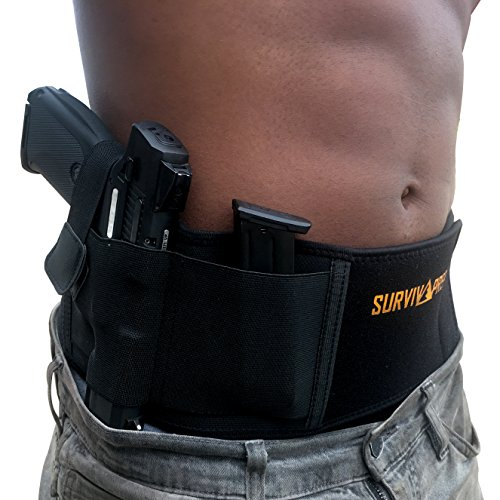 SurvivaPrep Belly Band Concealed Carry Holster for Men and Women, Elastic Waist Band Holster, Comfortable, Neoprene Holster, Fits Glock 19, Glock 43, Ruger, Sig and Sauer p938, and many more.