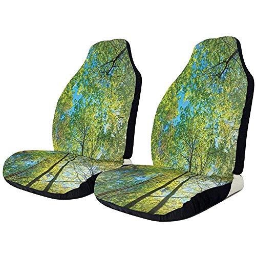 XZfly Autostoelhoezen 1PCS Forest Evergreen Trees Natuur Kofferbakbeschermers Universele stoelhoezen voor de meeste auto's