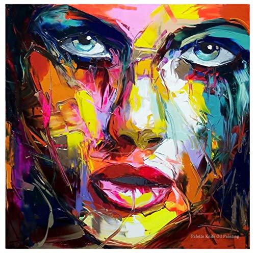 Paletmes portret gezicht olieverfschilderij met de hand geschilderd karakter figuur canvas kunst aan de muur foto voor woonkamer, 01,50x50cm