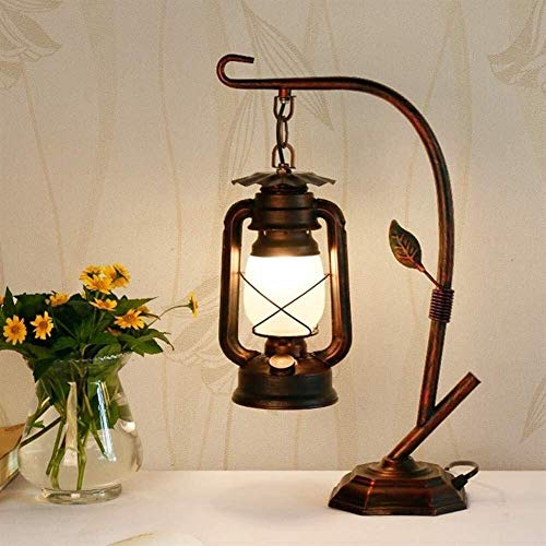 ZHLFDC Lámpara de mesa retro lámpara de escritorio del hierro labrado luces de queroseno Vintage E27 Fuente complemento adecuado de luz for estudiar el balcón Salón restaurante decorativa Iluminación