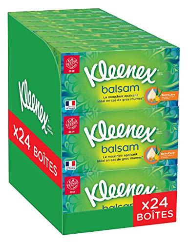 Kleenex BALSAM – Mouchoirs en papier – Lot de 24 Boîtes de Mouchoirs Lotionnés