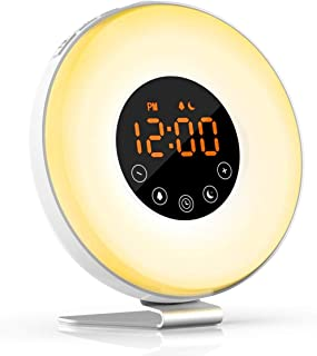 Yh9u Wake- Up Light, Alarm Clock 7 Colored Sunrise Simulation & Sleep Aid Feature, Dual Alarm Clock with FM Radio, 7 Natural Sound and Snooze for Kids Adults Bedrooms (6639-wake up Light)