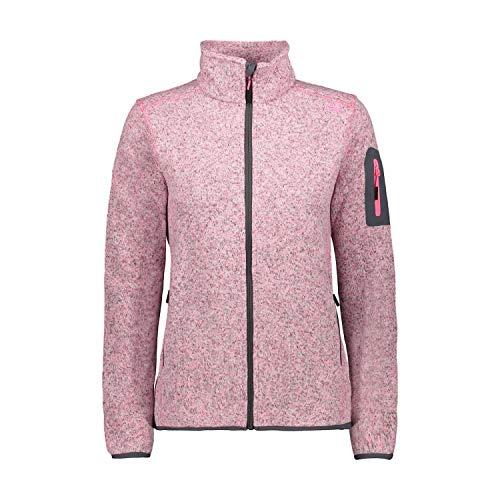 CMP Damen Knit Tech Polyester-Strickfleecejacke Fleecejacke, Pink Fluo Mel.-Graffite, D40