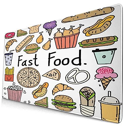 VINISATH Alfombrilla Gaming,Letras de Comida rápida Aliment Doodle Sándwich de Helado Hamburguesa Papas Fritas Donuts Pizza,con Base de Goma Antideslizante,750×400×3mm