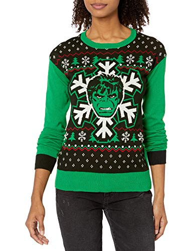 Marvel Women's Ugly Christmas Sweater, Hulk/Green, Large