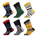 Chaussettes pour Hommes,Multicolore Chaussettes Fantaisie avec de Jolis Motifses,Socquettes Colorées Chaussettes Classiques Confortable et Respirant Adapté aux Chaussures de Sport(39-46,6Paires)