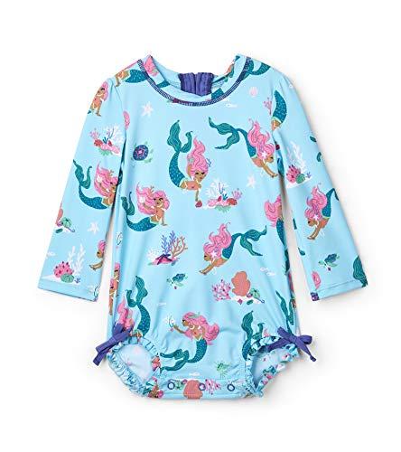 Hatley Baby-Mädchen Rash Guard Swimsuits Badeanzug, Blau (Mermaid Tales ), 3-6 Monate
