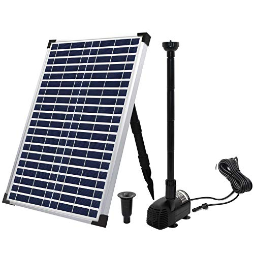 ECO-WORTHY Solar Fountain Water Pump Kit 20 W, 360GPH Submersible Powered Pump and 20 Watt Solar Panel for Sun Powered Fountain, Fish Pond, Pond Aeration, Hydroponics, Garden Decoration, Aquaculture…