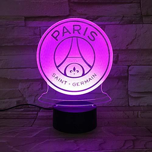 Led Nachtlicht Paris Beleuchtung 3D Football Club Fc Paris Saint Germain Kinder Fußball Logo Nachttischlampe Nachttisch Kindergeschenke