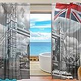 DOSHINE Durchscheinender Vorhang mit England-Flagge & Londoner Stadtsturm-Brücke, Fenstervorhang für Jungen & Mädchen, für Wohnzimmer, Badezimmer, Schlafzimmer, 140 x 198 cm, 2 Paneele