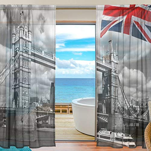 DOSHINE Vorhang mit England-Flagge, London City Tower Bridge, Vorhänge für Jungen Mädchen, Wohnzimmer, Badezimmer, Schlafzimmer, 139,7 x 198 cm, 2 Paneele, Polyester, Multi, 55