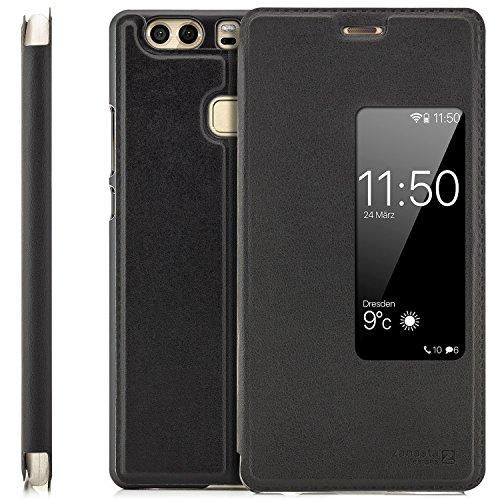 zanasta Tasche kompatibel mit Huawei P9 Plus Hülle Schutzhülle Flip View Cover mit Fenster & Kameraschutz Schwarz