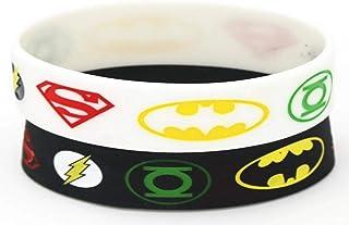 حزمة من 2 إسورة الأبطال الخارقون سوبرمان باتمان سيليكون للجنسين