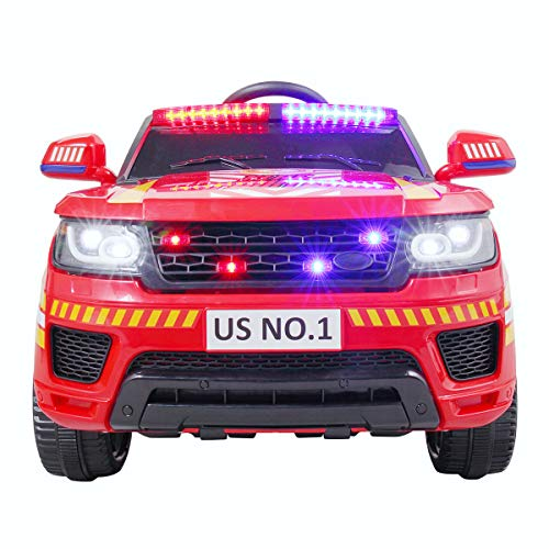 BWM.Co Kids Police Ride On Toy 12V Battery Power Electric Children Ride-on SUV 3 Speeds Siren Flashing Light RC Red