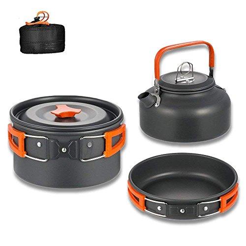 Aitsite Camping Kit de Utensilios de Cocina al Aire Libre de Aluminio Ligero Camping Pot Pan Set de Cocina para Acampar yendo de excursión (Naranja)