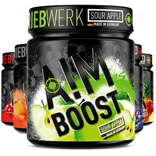 AIM BOOST | Sour Apple | Performance Booster | 400g | 40 Portionen | 23 Wirkstoffe | 247mg Koffein + Tyrosin +Theanin | 8 Vitamine | wenig Zucker |
