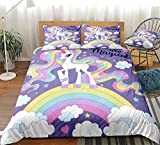 Cartoon Unicorn Duvet Cover Set Rainbow Girls Bedding Beautiful Unicorn with Long Hair Printed Design Pink Girls Bedding Sets Queen 1 Duvet Cover Set 2 Pillowcases (Queen, Unicorn 16)