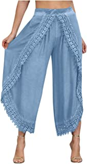 Smoxx Womens Palazzo Slit Wide Leg Pants Summer Casual Beach Boho Hippie Bohemian Pilate Plus Size