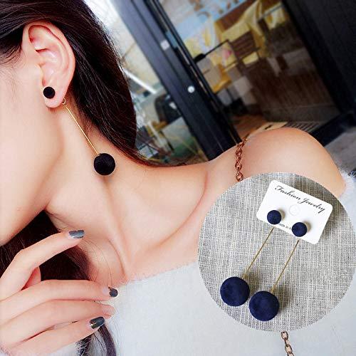 YULE Pendientes largos de bola de felpa roja, negro, gris, azul, para mujer, regalo de joyería al por mayor (color metálico: gris)