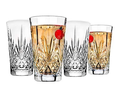 Godinger Beverage Tumbler Glasses All Purpose Highball - Dublin Collection, 12oz, SET OF 4