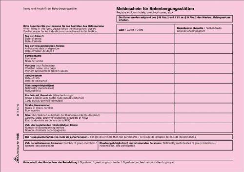 Meldeschein für Beherbergungsstätten Niedersachsen, 100 Blatt/Block