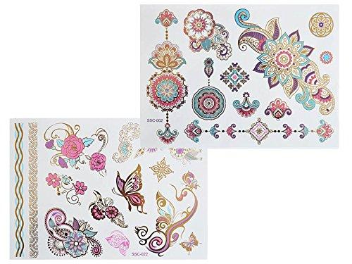 Grande Feuille Tatouages Temporaires Métalliques Tatouages Flash bijoux de peau Or Argent Coloré sc02 022