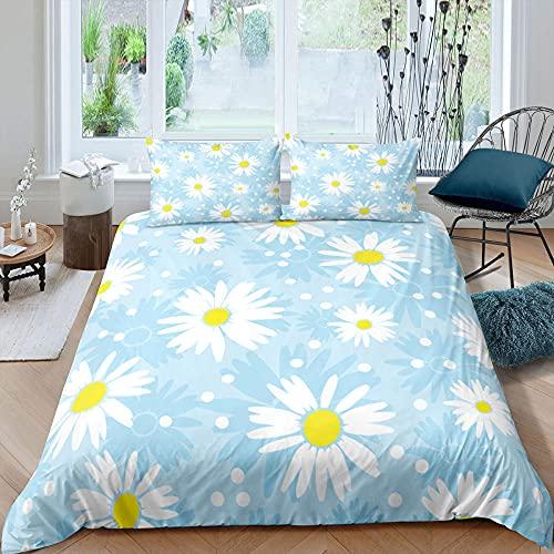 Påslakan sängkläder vit krysantemum supermjukt och mysigt lättskött påslakan täcke sängkläder set - 220 x 230 cm + 2 matchande örngott - 50 x 75 cm