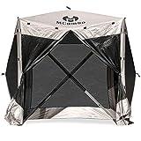 Mcombo Gazebo Tent 60 Seconds Pop-Up Portable 4-Sided Hub Durable Screen Tent Netted Gazebo/Screen Tent Rain Protection Party Waterproof Gazebo Pavilion 6052 (Tent 4pc, Brown)