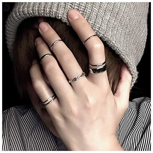 Anglacesmade Gothic Knuckle Ring Set 7 Stück halboffene Finger Ring Silber Punk stapelbare Ringe für Damen oder Herren (Silber)