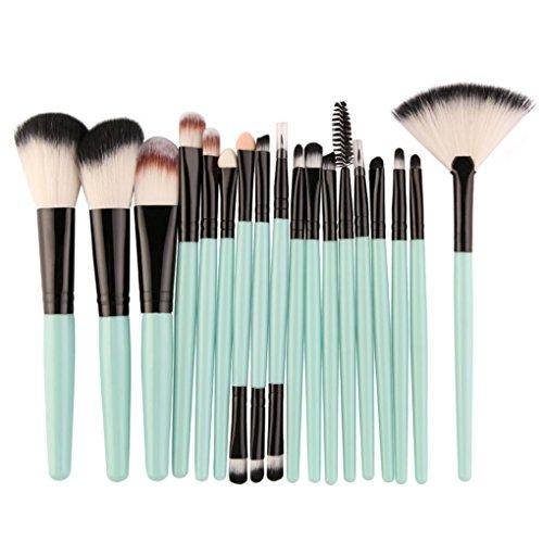 Goddessvan Makeup Brushes 18 Pieces Makeup Brush Set Make-up Toiletry Kit Wool Make Up Brush Set Tools (Green)