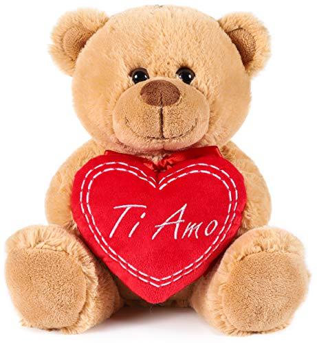 Brubaker Teddy Plüschbär mit Herz Rot - Ti Amo - 25 cm - Teddybär Plüschteddy Kuscheltier Schmusetier - Braun Hellbraun