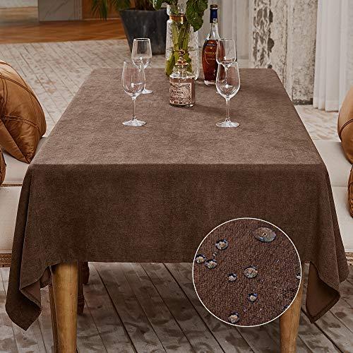 Balcony&Falcon Tischdecke Leinenoptik tischdecke abwaschbar Tischtuch Leinen Tischläufer Tischwäsche Eckig Wasserdicht Tischdecke Braun 140 x180