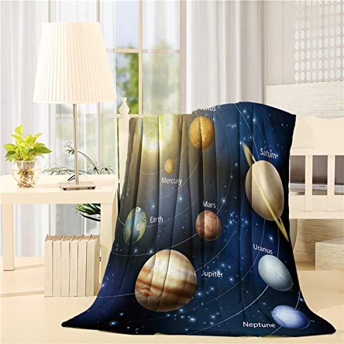 Advancey Solar System Nine Planets Orbit Flannel Fleece Throw Blanket Lightweight Cozy Bed Sofa Blankets Super Soft Fabric,39x49 inch