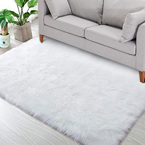 Noahas Luxury Fluffy Rugs Bedroom Furry Carpet Bedside Faux Fur Sheepskin Area Rugs Children Play Princess Room Decor Rug, 3ft x 5ft, White