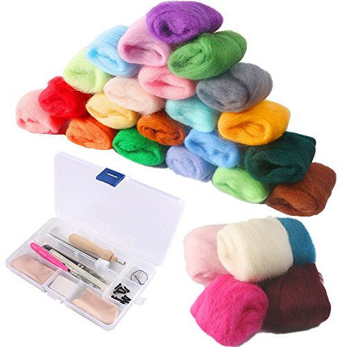 COCODE Needle Felting Starter Kit Set Felt Tools with 36 Colors Wool Felting Supplies Fibre Wool Yarn Roving for Hand Spinning DIY Craft Projects Good Gift