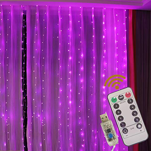 GUOCHENG Copper String Curtain Lights 3m x 3m LED Curtain Fairy Lights USB Powered Window Light Strings with Remote for Home Bedroom Patio Party Wedding Christmas, Indoor Outdoor Decorations-Purple