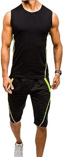 Men 2 Piece Outfits Sleeveless Tank Top Sweat +Shorts Sweatpants Jogging Sets Sportswear Tracksuit