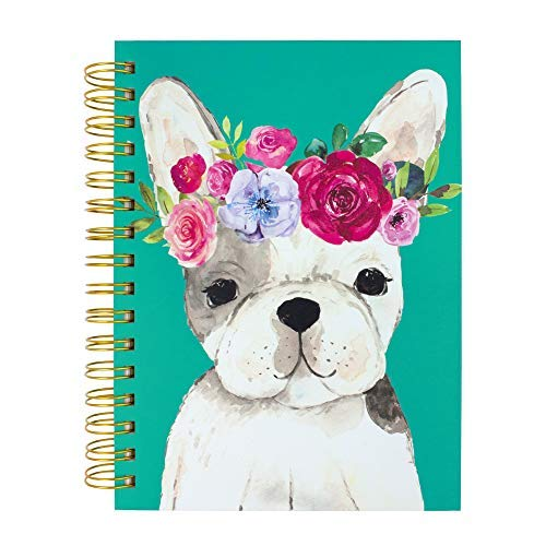 Clementine Paper Recycled Journal, Floral Crown Frenchie. 6.25'x8.25' Hardcover Spiral with 300 Lined Pages.
