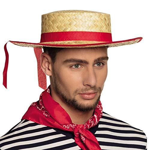 NET TOYS Eleganter Gondoliere Hut mit rotem Band - Braun-Rot KW 59 - Extravagante Unisex-Kopfbedeckung Venezianischer Strohhut für Erwachsene - EIN Blickfang für Karneval & Sommerfest