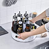Houzemann Lazy Susan Cabinet Organizer - Non Slip Lazy Susan Turntable, Plastic Spinning Spice Rack Organizer with 2 Handles for Spices, Sauces, Cleaning Products, Pantry, Countertop, Table, Bathroom