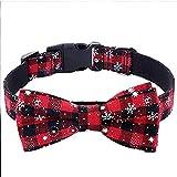 KAEHA SUN-034-00-M diseño Pajarita Collar de Copo de Nieve de Navidad de Vacaciones Ajustable con Lazo de algodón Rojo para Cachorro de Perro pequeño Mediano