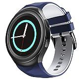 NotoCity Compatible con Samsung Gear S2 Pulsera de Silicona Correa de Reloj de Repuesto Deportivo para Samsung Gear S2 Smartwatch SM-R720 SM-R730(Azul Blanco,S)