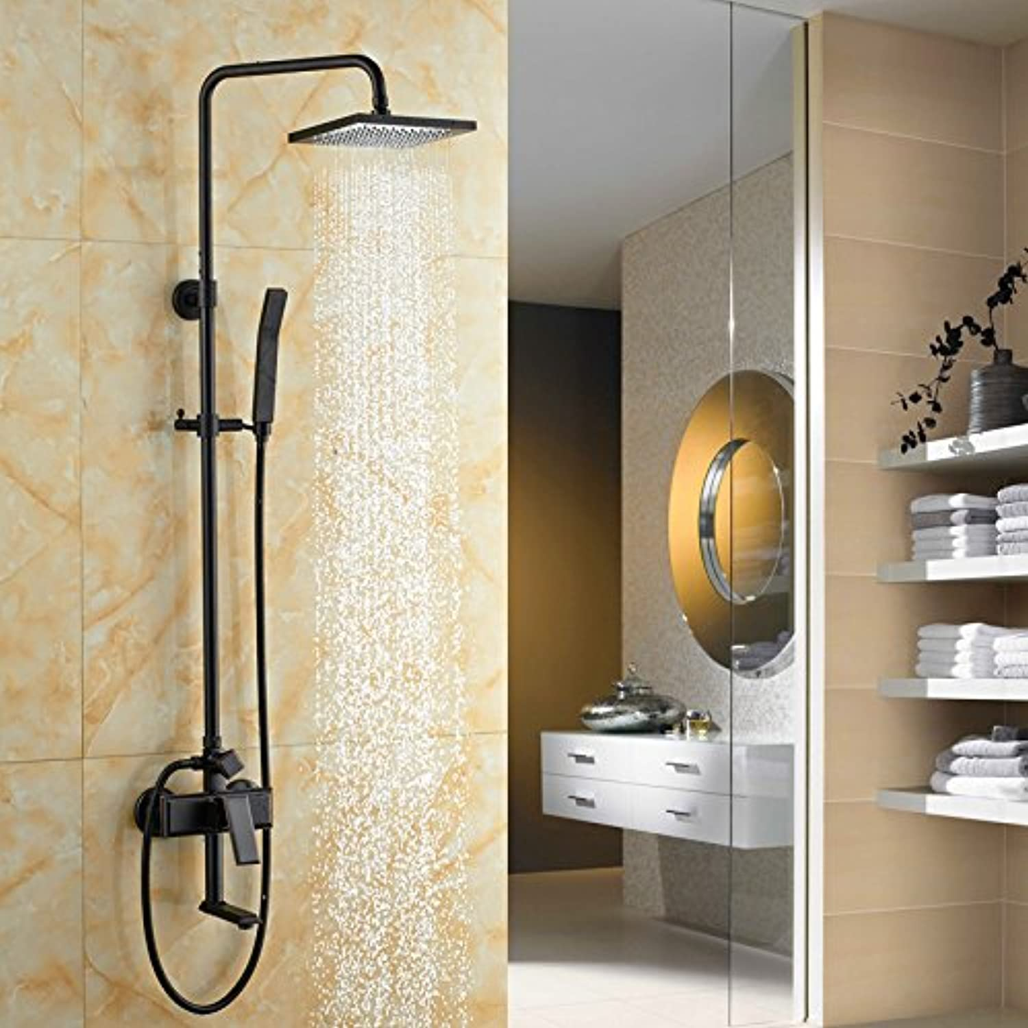 Hlluya Professional Sink Mixer Tap Kitchen Faucet The copper shower full copper shower set bathroom faucet hot and cold shower kit, Quad shower