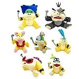 Super Mario Bros Koopalings Larry Iggy Lemmy Roy Ludwig Wendy Morton Koopa Soft Plush Toy 7.5' (Pack of 7)