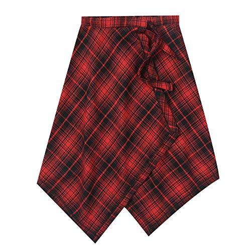 iiniim Falda Dobladillo Inferior Falda Cuadros Escoceses para Mujer Falda Corto Colegiala Cinturn Cintura Falda Plisada Coreana del Viento De La Universidad Linda Dulce Moda Rojo One Size