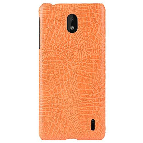 HualuBro Handyhülle für Nokia 1 Plus Hülle, Premium PU Leder Hardcase [Ultra Dünn] Lederhülle Tasche Schutzhülle Hülle Cover für Nokia 1 Plus 2019 (Orange)